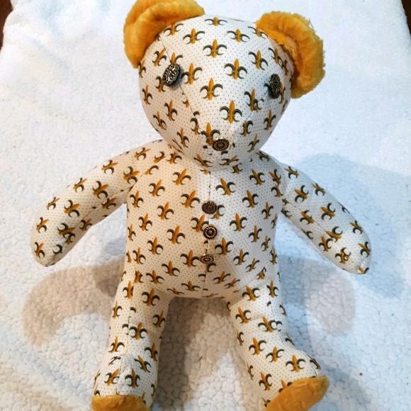 Vintage Fleur-de-lis Fabric Teddy Bear
